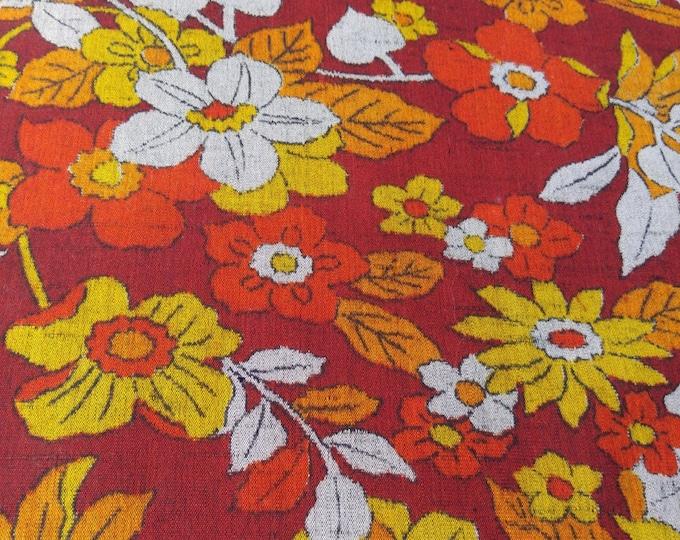 Vintage Japanese summer wool kimono fabric 92 cm x 36 cm maroon floral flowers