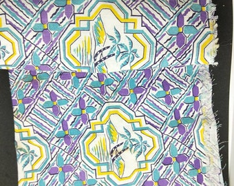 """Vintage American Feed sack fabric 1940's original not reproduction fat quarter 18"""" x 22' Hawaiian pattern with palm trees and beach not mint"""