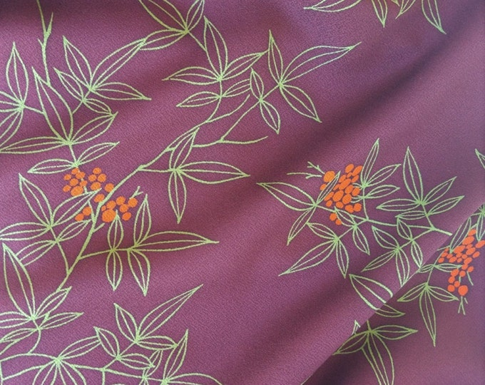Vintage Japanese silk kimono fabric 92 cm x 36 cm wine red leaves and berries