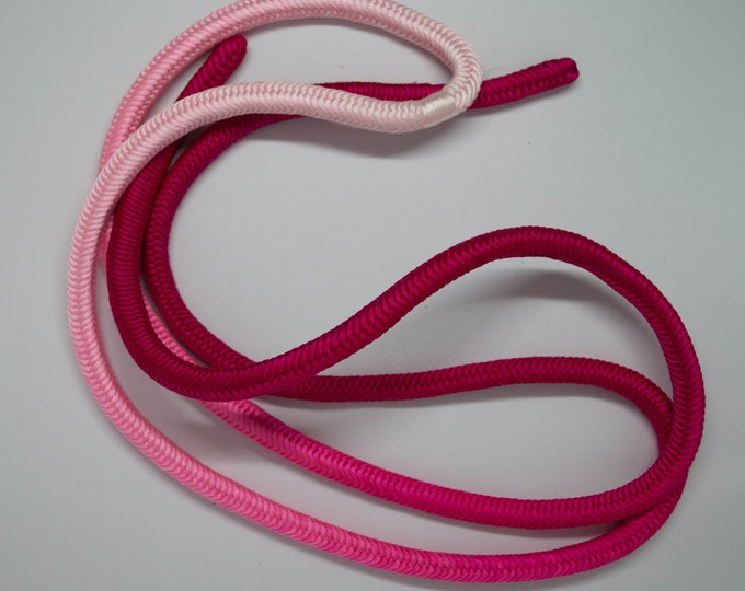 Vintage Japanese silk kumihimo obi-jime cord for obi pink ombre from magenta to baby pink colour, round type. Handmade, wonderful.