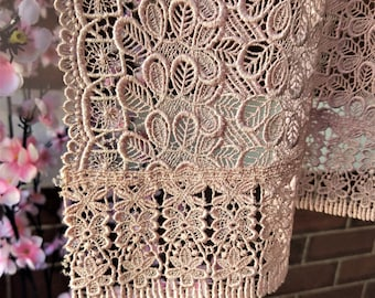 Vintage Japanese lace shawl for kimono  dusky pink lace