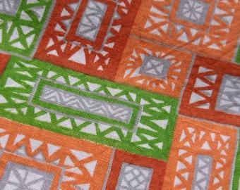 "Vintage American Feed sack fabric fat quarter 18"" x 22' cotton abstract geometric feedsack"