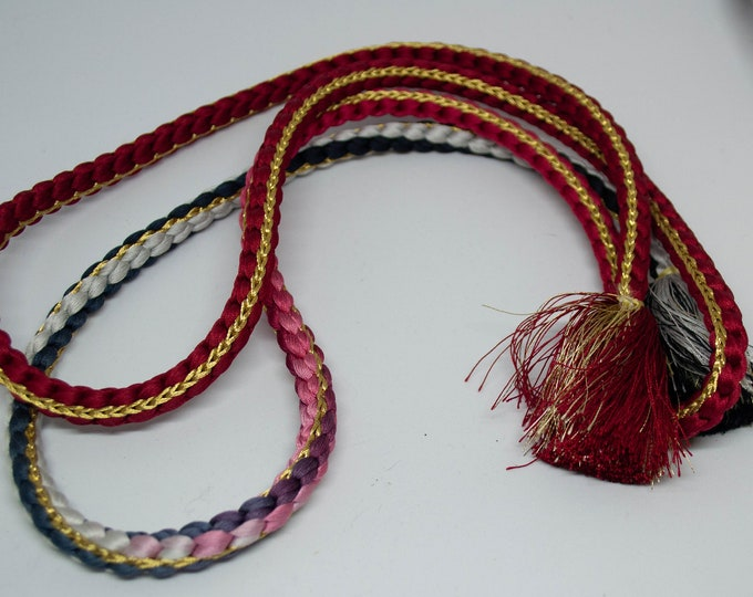 Vintage Japanese silk kumihimo obi-jime cord obi ombre wine red, steel blue shades gold accents round type. Handmade, wonderful.
