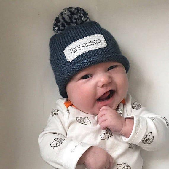 Monogram baby boy winter hat Baby Boy hat Personalized hat  6bcd86d44b5