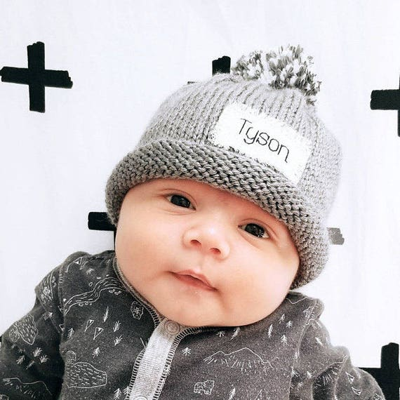 BABY ANNOUNCEMENT Knit Baby Hat PersonalizedNew Baby  0c7f19301c2