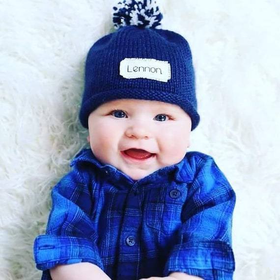 Personalized baby winter hats Knit Baby Hat New Baby  9b8864c8a4f
