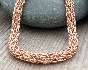 14K Rose Gold Handwoven Chain, Rose Gold Wedding Necklace, Handmade Rose Gold Fill Chainmaille,  14k Rose Gold Filled Artisan Necklace