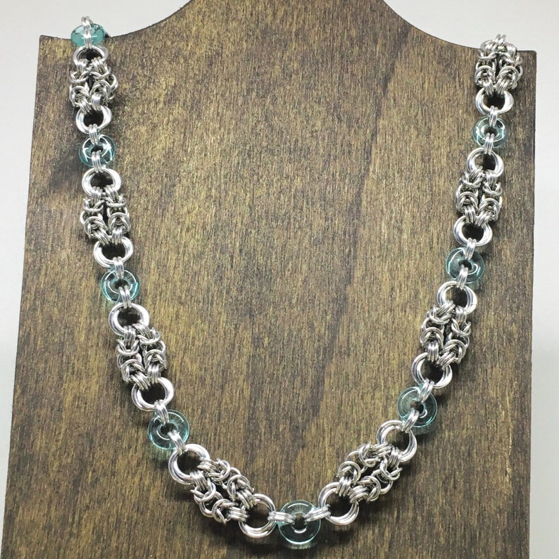 Delicate Chainmaille Necklace with Aquamarine Accents  Ready image 0