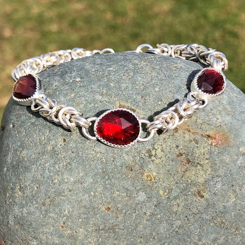 Sterling Silver Byzantine Bracelet with Garnet Handmade image 0