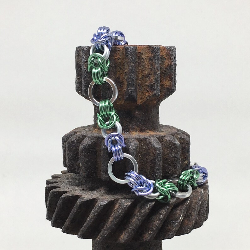 Genderqueer Pride Byzantine Bracelet  Ready to Ship image 0