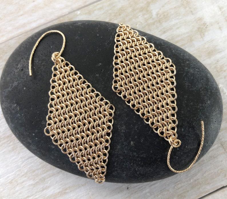 14K Gold Diamond Mesh Earrings 14 Karat Large Yellow Gold image 0