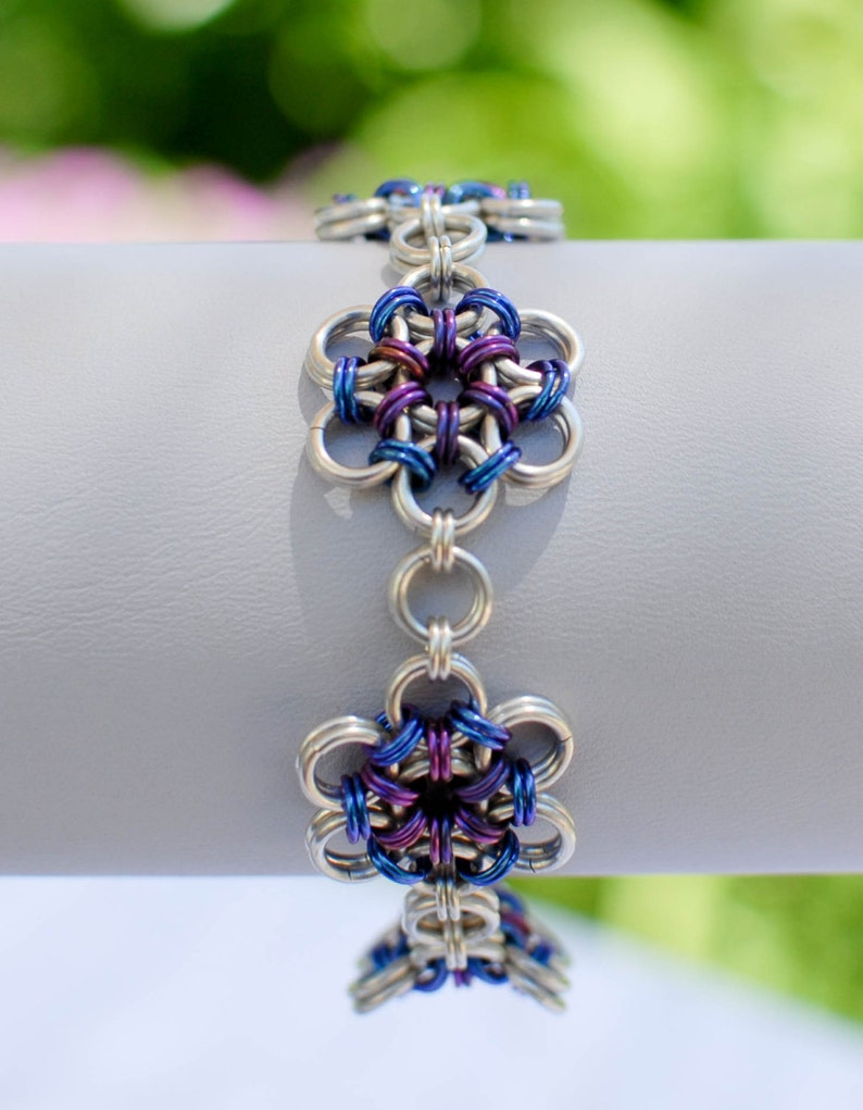 Sterling Silver Japanese Flower Garden Bracelet with Blueberry image 0