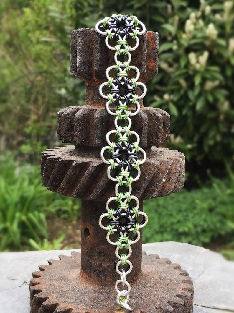 Reversible Japanese Flower Garden Bracelet Black Green and image 0
