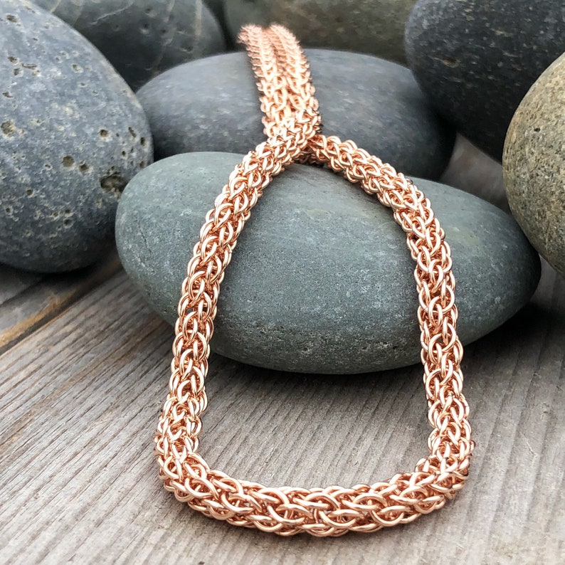 14K Rose Gold Handwoven Chain Rose Gold Wedding Necklace image 0