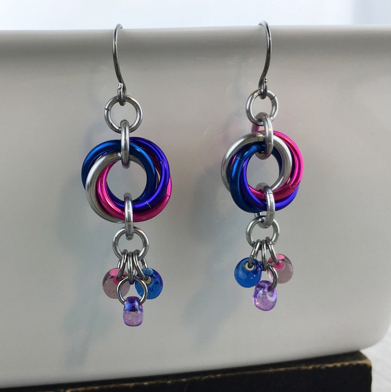 Bi Pride Spiral Earrings Bisexual Jewelry Ready To Ship image 0