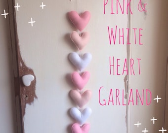 Pink & White Heart garland