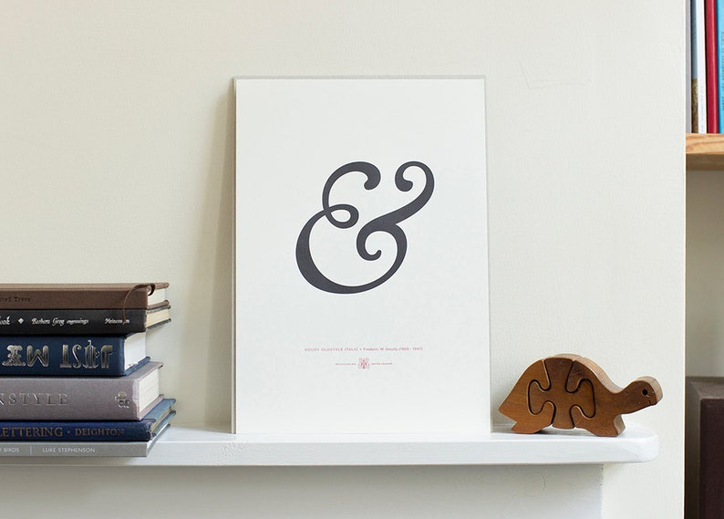 Goudy Old Style Italic Ampersand A4 Letterpress Art Print