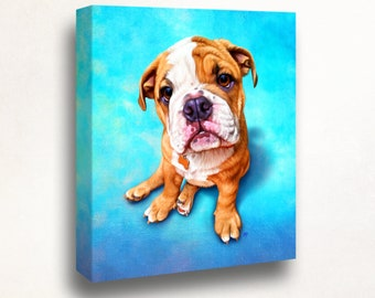 Bulldog Portrait   Custom Bulldog Portrait   Bulldog Painting From Your Photos   American Bulldog Art by Iain McDonald
