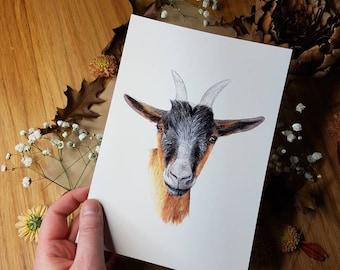 Geit kaart/ miniposter A5: 14,8 x 21 cm