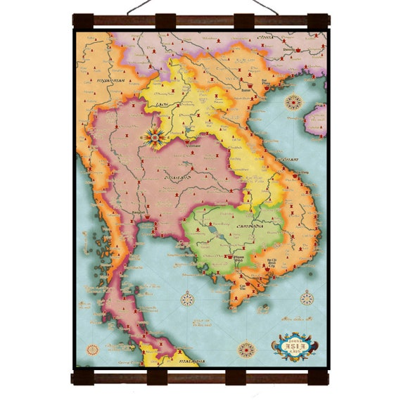 SOUTHEAST ASIA Map Vietnam Thailand Cambodia Laos 3G- Handmade Leather Wall  Hanging - Travel Art