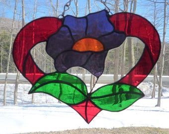 Stained Glass Heart with Purple Blossom  Suncatcher