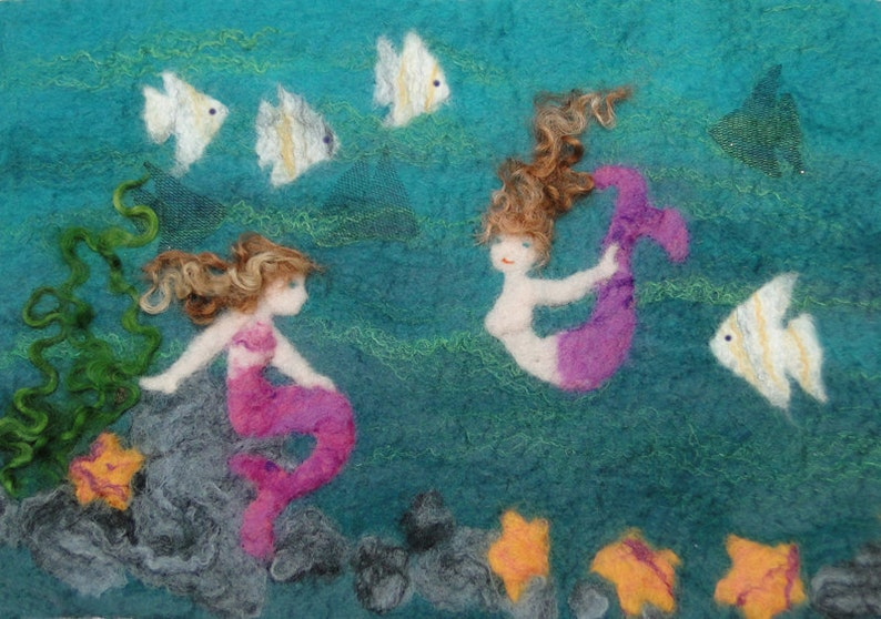 Felt Making Kit to make mermaid picture with angel fish and starfish and online tutorial