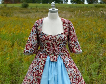 1700's Caraco Floral Jacket with Skirt
