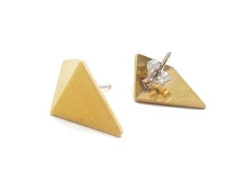Triangle Stud Earrings, Geometric Stud Earrings, Sterling Silver & Brass Stud Earrings, Minimal Stud Earrings, ESB001