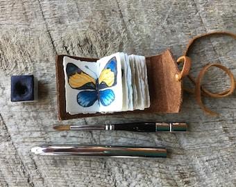 The Tiny Watercolorist  Leather Journal-Small Handmade Sketchbook-Miniature Painter Journal-Adventure Travel Journal-Artists Gift Idea