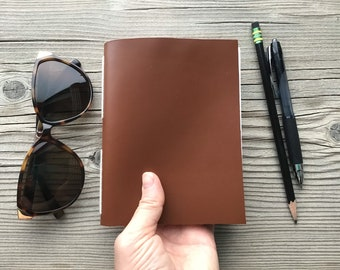 Minimalist Leather Notebook-Simple Diary-Daily Journal-Dreams Lists Jots-Handmade Journal-Gift for Travel-On The Go Scribble Book