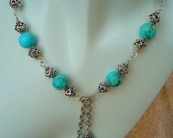 Turquoise Statement Necklace Heavy Sterling Silver