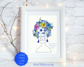 Frida Kahlo screen print, limited edition, hand painted watercolour detail