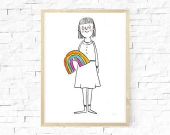Rainbow print, Limited edition screen print, A5