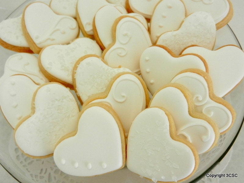 Mini Fancy Heart Hand Decorated Sugar Cookies For Weddings Etsy