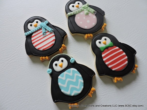 Party Penguins Decorated Sugar Cookies For Christmas Or Winter Themed Parties 2518