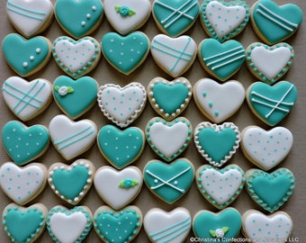 Mini  heart collection of  hand decorated sugar  cookies for weddings, showers, birthdays and other events (#2209)