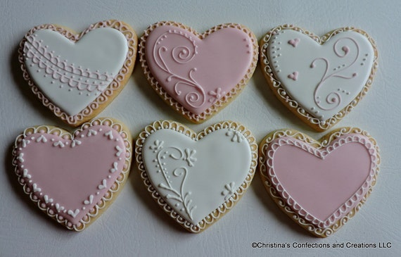 Large Romantic Hand Decorated Sugar Cookies For Etsy