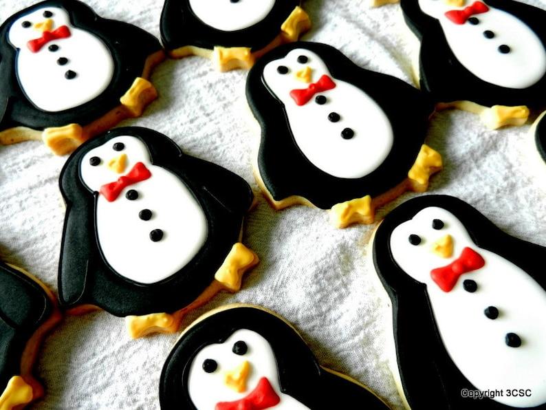 Penguin Christmas Cookies Hand Decorated Sugar Cookies One Dozen