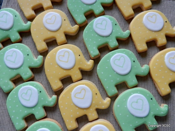 Large Elephant Cookies For Birthday Parties Or Baby Showers Etsy