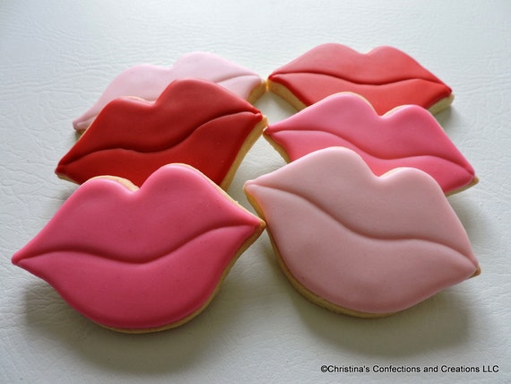 Lips Hand Decorated Sugar Cookies For Valentine S Day Or Etsy