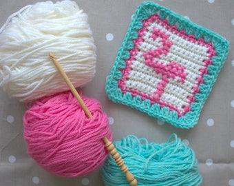 Crochet Pattern - Flamingo Crochet Square - PDF Crochet Block Pattern