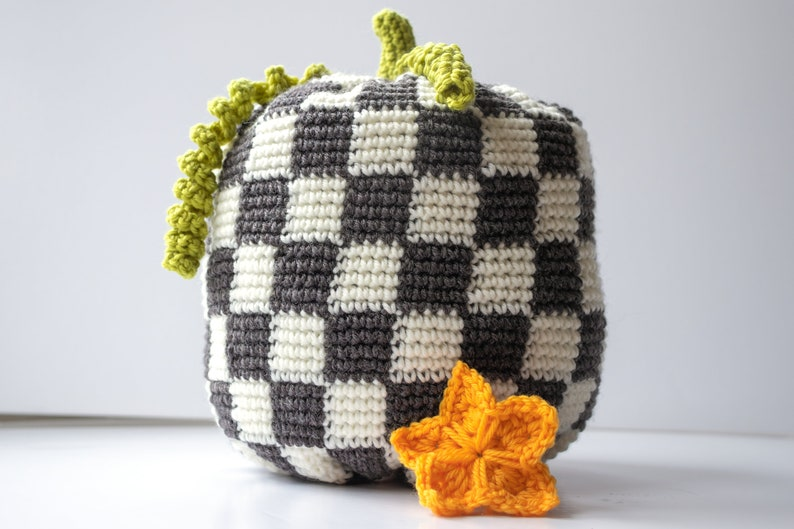 Easy Pumpkin Crochet Pattern   Chequerboard Pumpkin  PDF image 1
