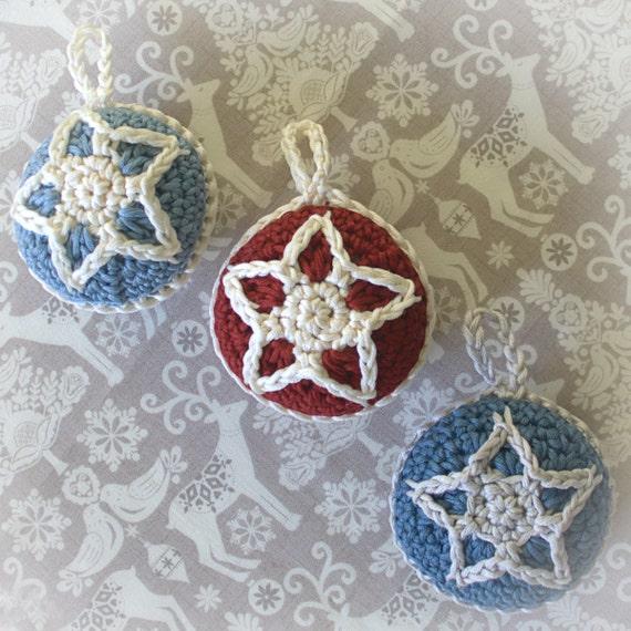 Christmas Crochet Pattern Christmas Star Bauble Decoration Etsy