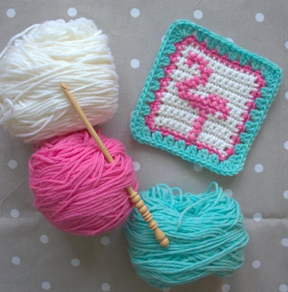 Crochet Pattern Flamingo Crochet Square Pdf Crochet Block Etsy