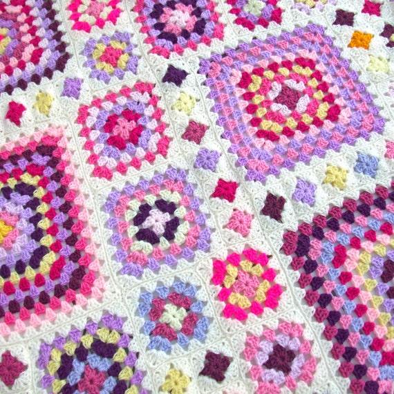 Crochet Blanket Pattern Shabby Chic Granny Square Throw Etsy