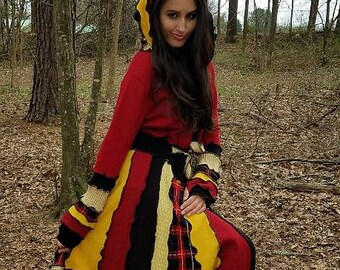 SALE: Medium to large hooded elf coat of upcycled sweaters in Gryffindor colors ready to ship
