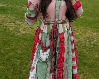 SALE: Pink and green large women's elf coat of upcycled sweaters proceeds go to charity