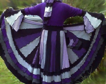 Custom designed elf coat of upcycled sweaters in your choice of color palettes with long skirt