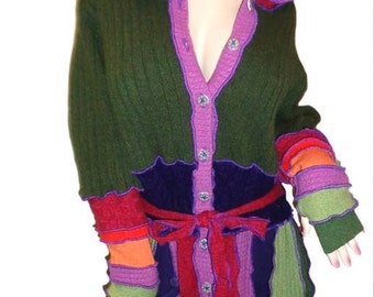 Plus size hooded elf coat of upcycled sweaters in fall color palette