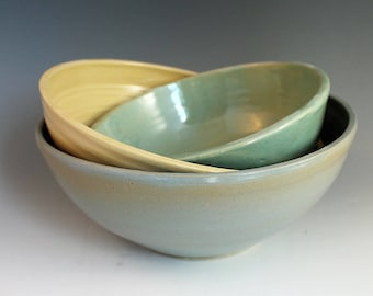 Nesting bowls - Blue green and yellow - mixing bowls - pottery and ceramics